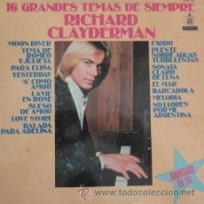Discos de vinilo: RICHARD CLAYDERMAN - 16 GRANDES TEMAS DE SIEMPRE - LP DELPHINE RECORDS 1979 RF-4494 BUEN ESTADO. Lote 48717041
