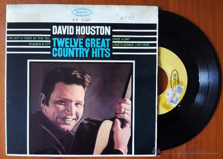 DAVID HOUSTON, TWELVE GREAT COUNTRY HITS (DISCOPHON 1965) SINGLE EP ESPAÑA - UNA VEZ AL DIA + 3 (Música - Discos de Vinilo - EPs - Country y Folk)