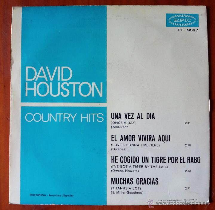 Discos de vinilo: DAVID HOUSTON, TWELVE GREAT COUNTRY HITS (DISCOPHON 1965) SINGLE EP ESPAÑA - UNA VEZ AL DIA + 3 - Foto 2 - 48717623