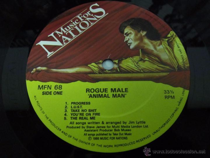 Discos de vinilo: ROGUE MALE - ANIMAL MAN - MUSIC FOR NATIONS 1986 UK - LP - LETRAS - Foto 2 - 48739675
