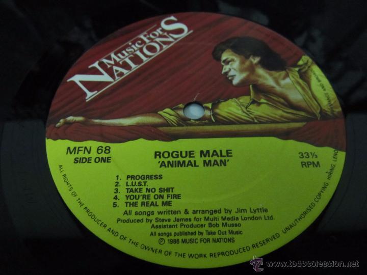 Discos de vinilo: ROGUE MALE - ANIMAL MAN - MUSIC FOR NATIONS 1986 UK - LP - LETRAS - Foto 3 - 48739675