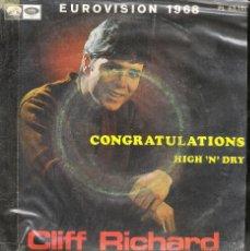 Discos de vinilo: CLIFF RICHARD - VINILO 1968 (EUROVISION) CONGRATULATIONS - HIGH´N' DRY. Lote 48746263