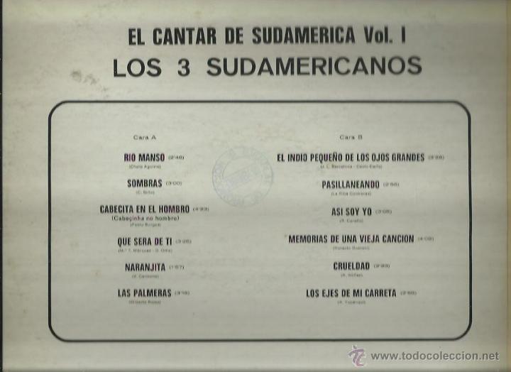 Discos de vinilo: LOS TRES SUDAMERICANOS LP SELLO BELTER AÑO 1974 - Foto 2 - 48757996