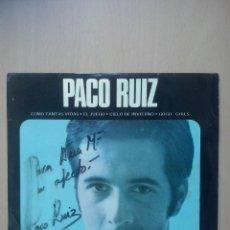 Discos de vinilo: PACO RUIZ Y LOS LENTOS - COMO TANTAS VIDAS +3 - EP PRESA 1969 - CONTIENE HOJA INTERIOR Y FIRMA. Lote 48773154