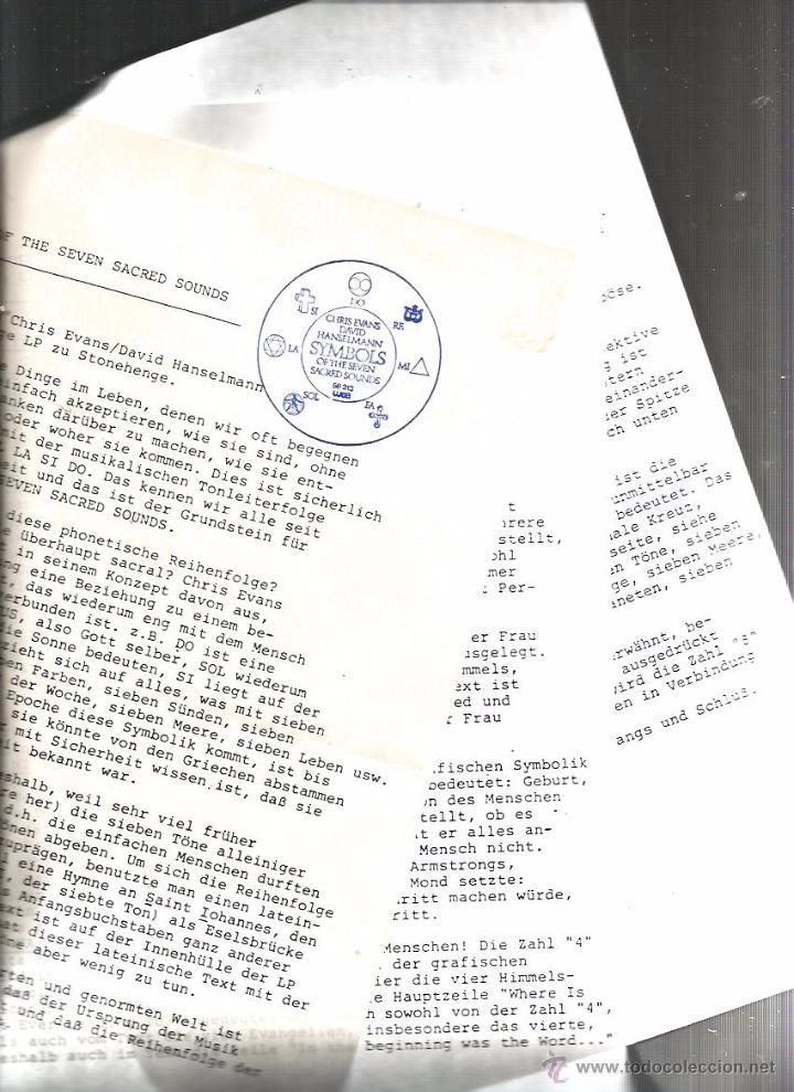 Discos de vinilo: LP CHRIS EVANS & DAVID HANSELMANN : SYMBOLS OF THE SEVEN SACRED SOUNDS ( INCLUYE HOJAS PROMOCIONALES - Foto 4 - 48779905