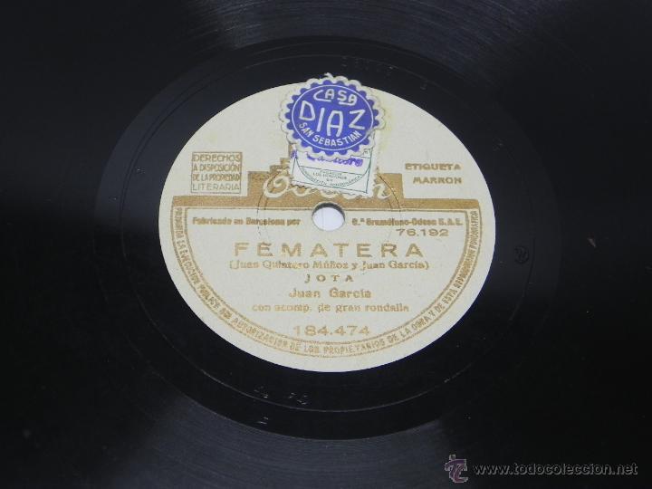 DISCO DE PIZARRA DE JUAN GARCIA - JOTA - FEMATERA / EL SENTIMIENTO, LA PARRA - ED. ODEON, 184474, BU (Música - Discos - Singles Vinilo - Clásica, Ópera, Zarzuela y Marchas)