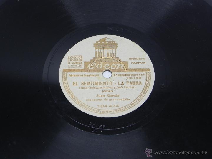 Discos de vinilo: DISCO DE PIZARRA DE JUAN GARCIA - JOTA - FEMATERA / EL SENTIMIENTO, LA PARRA - ED. ODEON, 184474, BU - Foto 3 - 48806262