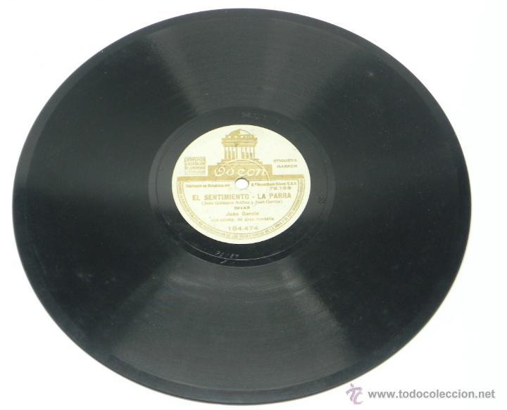 Discos de vinilo: DISCO DE PIZARRA DE JUAN GARCIA - JOTA - FEMATERA / EL SENTIMIENTO, LA PARRA - ED. ODEON, 184474, BU - Foto 4 - 48806262