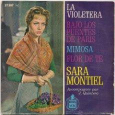 Discos de vinilo: SARA MONTIEL - LA VIOLETERA + 3 ( EP BARCLAY-HISPAVOX EDICION FRANCESA). Lote 48824021