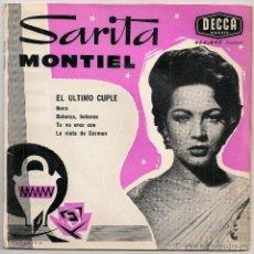 Discos de vinilo: SARA MONTIEL - EL ULTIMO CUPLE ( EP DECCA EDICION FRANCESA). Lote 48824043