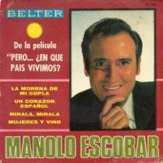 Discos de vinilo: MANOLO ESCOBAR - LA MORENA DE MI COPLA - EP.. Lote 48839718