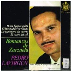 Discos de vinilo: PEDRO LAVIRGEN - ROMANZAS DE ZARZUELA - EP 1963. Lote 48864125