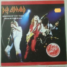 Discos de vinilo: DEF LEPPARD: BRINGIN´ ON THE HEARTBREAK + ME AND MY WINE + YOU GOT ME RUNNING. Lote 98155519