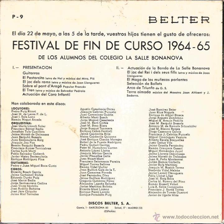 Discos de vinilo: EP LA SALLE BONANOVA ( 22 DE MAYO DE 1965) : UN DIA DE PRIMAVERA - Foto 3 - 48925044