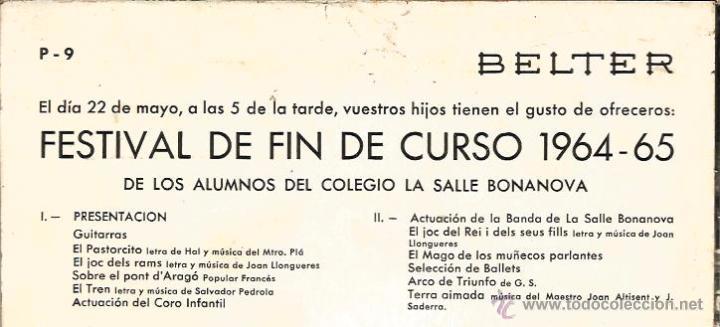 Discos de vinilo: EP LA SALLE BONANOVA ( 22 DE MAYO DE 1965) : UN DIA DE PRIMAVERA - Foto 4 - 48925044