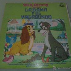 Discos de vinilo: WALT DISNEY LA DAMA Y EL VAGABUNDO LP 1975 EN ESPAÑOL CUENTO CANCIONES Y LIBRO ILUSTRADO !ESCASO!. Lote 48962721