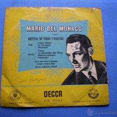 Discos de vinilo: MARIO DEL MONACO - RECITAL DE VERDI Y PUCCINI DECCA - LP 10' PEPETO. Lote 48982566
