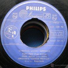 Dischi in vinile: EP SIN CARATULA PHILIPS MERENGUE MUCHO MERENGUE ORQUESTA CIUDAD TRUJILLO. Lote 48984356