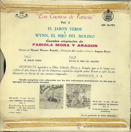 Discos de vinilo: LOS CUENTOS DE FABIOLA DE MORA Y ARAGON VOL.3 EP SELLO HISPAVOX AÑO 1962 - Foto 2 - 49003308