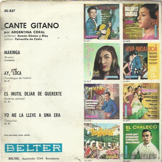 Discos de vinilo: ARGENTINA CORAL EP BELTER 1962 maringa/ ay loca/ es inutil dejar de quererte +1 TANGUILLO RUMBA - Foto 2 - 49022560