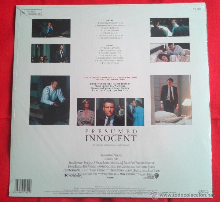 Discos de vinilo: John Williams - Presumed Innocent (Original Motion Picture Soundtrack) (LP) - Foto 2 - 49055604