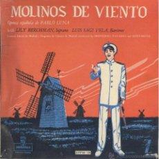 Discos de vinilo: MOLINOS DE VIENTO. OPERA DE PABLO LUNA. BERCHMANN Y SAGI VELA. 45 R.P.M. ZAFIRO, 1959.. Lote 49036281