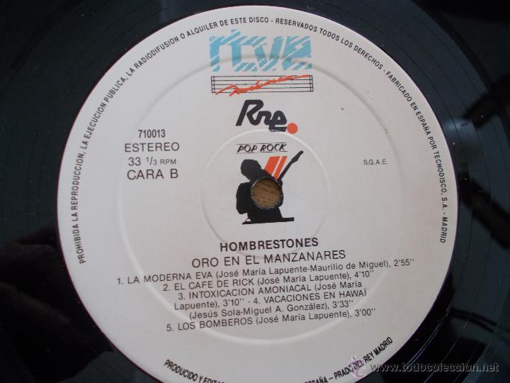 Discos de vinilo: HOMBRESTONES.ORO EN EL MANZANARES - Foto 3 - 49095320