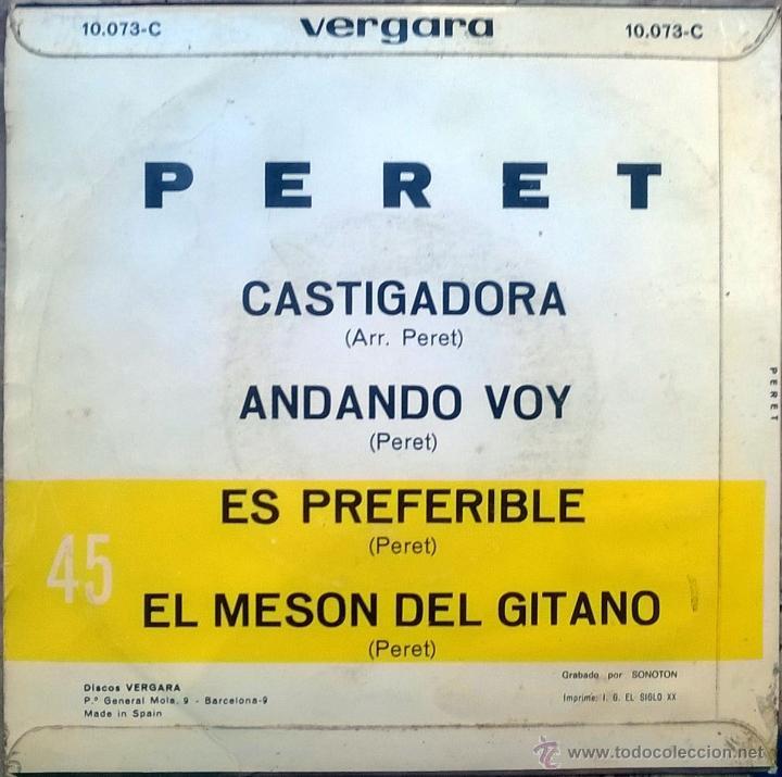 Discos de vinilo: Peret. Castigadora/ Andando voy/ Es preferible/ El mesón del gitano. Vergara, Esp. 1969 ep - Foto 2 - 49120542