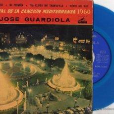 Discos de vinil: JOSE GUARDIOLA - FESTIVAL CANCION MEDITERRANEA, EP, XIPNA AGHAPI MOU + 3, AÑO 1960. Lote 49136945