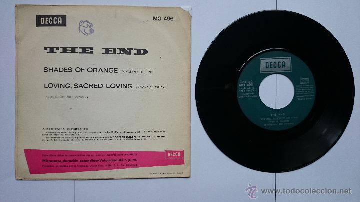 Discos de vinilo: THE END (ROLLING STONES, BILL WYMAN) - SHADES OF ORANGE / LOVING, SACRED LOVING (1969) - Foto 2 - 178726902