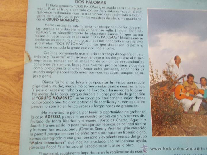 Discos de vinilo: GRUPO MOMENTO. DOS PALOMAS. GRUPO DE ELDA Y PETRER. - Foto 4 - 49167001
