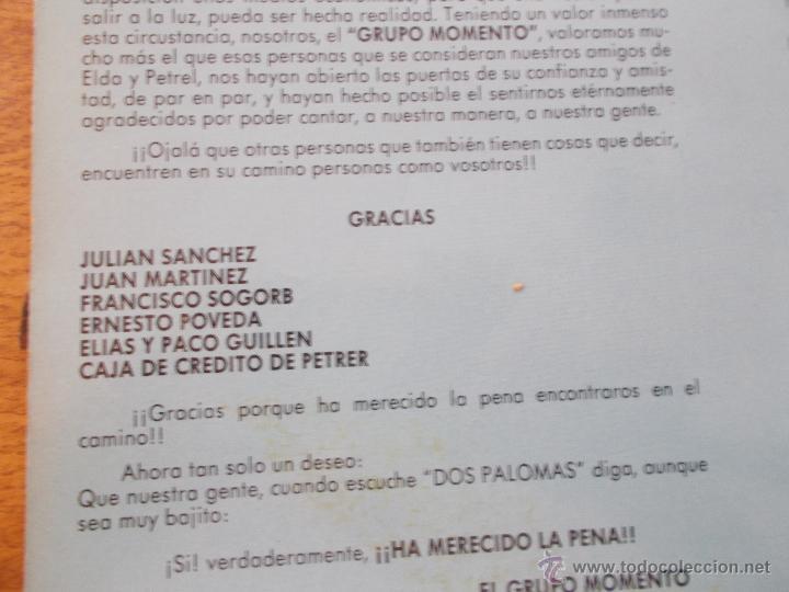 Discos de vinilo: GRUPO MOMENTO. DOS PALOMAS. GRUPO DE ELDA Y PETRER. - Foto 6 - 49167001