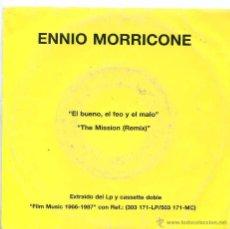 Discos de vinilo: ENNIO MORRICONE / EL BUENO, EL FEO Y EL MALO / THE MISSION (REMIX) SINGLE PROMO 1988. Lote 131326655
