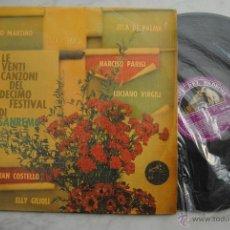 Discos de vinilo: LE VENTI CANZONI DEL DECIMO FESTIVAL DI SAN REMO. LP ITALIANO 1960. Lote 49196343