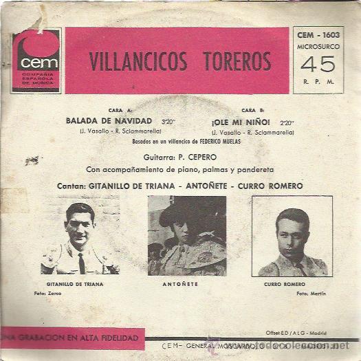 Discos de vinilo: VILLANCICOS TOREROS Sg CEM 1967 CANTAN CURRO ROMERO/ ANTOÑETE/ GITANILLO DE TRIANA - Foto 2 - 49207990