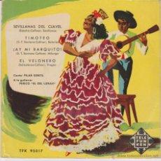 Discos de vinilo: PILAR GENTIL - EL VELONERO - SEVILLANAS DEL CLAVEL + 2 - EP SPAIN DISCO TELEFUNKEN 1957 EX / VG++. Lote 49211400