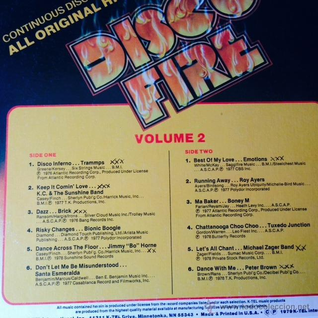 Discos de vinilo: Disco Fire (Volume 2) - LP . 1979 K-Tel USA - TU 2590-2 . TRAMPPS . DAZZ . EMOTIONS . PETER BROWN . - Foto 2 - 49212936
