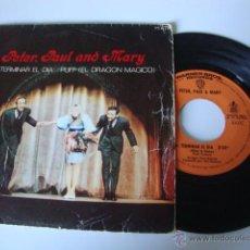 Discos de vinilo: PETER, PAUL & MARY – AL TERMINAR EL DÍA / PUFF (EL DRAGÓN MÁGICO) - SINGLE WARNER BROS. RECORDS. Lote 49251712