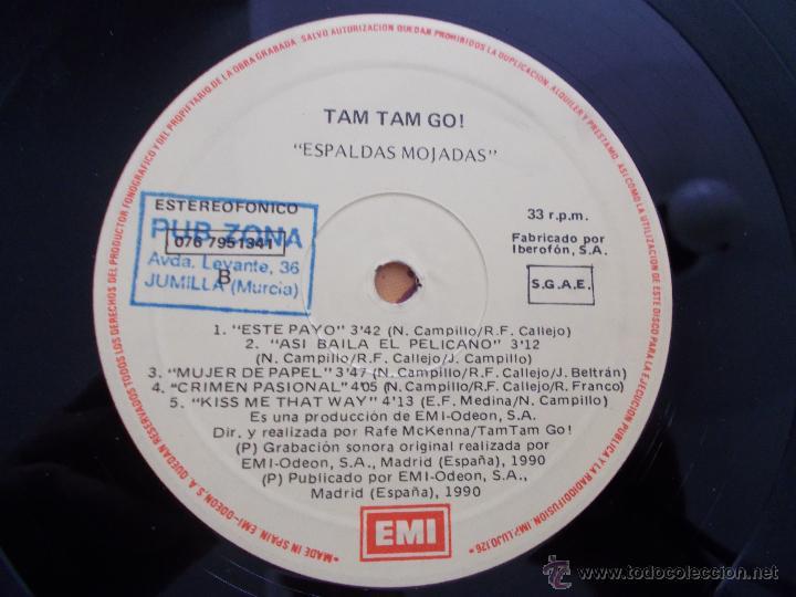 Discos de vinilo: ESPALDAS MOJADAS. TAM TAM GO - Foto 2 - 49260643