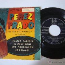 Discos de vinilo: SINGLE EP PÉREZ PRADO REY DEL MAMBO Y SU ORQUESTRA, CUATRO PAREDES EL MENE MENE DIFICIL. Lote 49263893