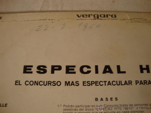 Discos de vinilo: ANTIGUO DISCO LP ESPECIAL HITS CONCURSO ESPECTACULAR PARA LA JUVENTUD, VERGARA - Foto 2 - 73300694