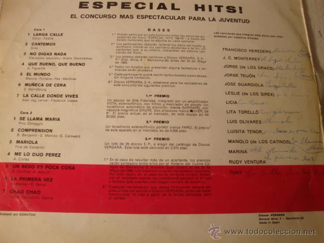 Discos de vinilo: ANTIGUO DISCO LP ESPECIAL HITS CONCURSO ESPECTACULAR PARA LA JUVENTUD, VERGARA - Foto 3 - 73300694