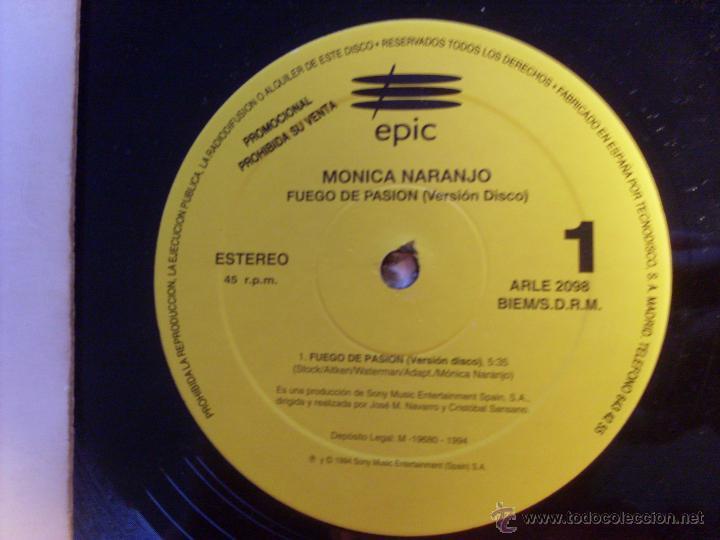 Discos de vinilo: MONICA NARANJO (FUEGO DE PASION X 2 / HOT MIX) MAXI SINGLE ESPAÑA PROMO (EX+/NM) (VIN17) - Foto 5 - 236339980