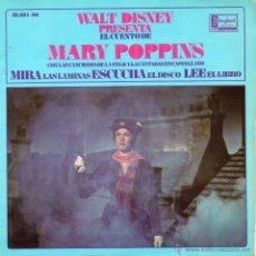 Discos de vinilo: WALT DISNEY - MARY POPPINS,EP, CUENTO + 4, AÑO 1967. Lote 49313310