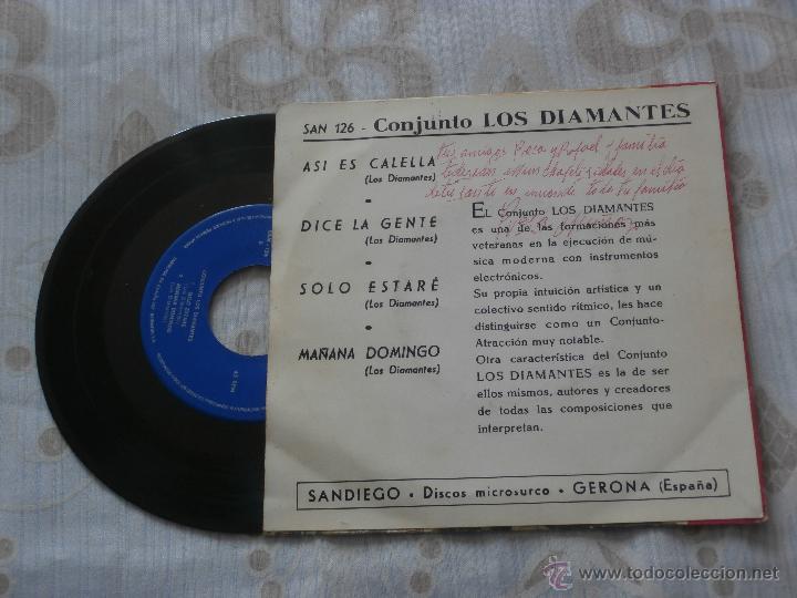 Discos de vinilo: LOS DIAMANTES 7´SG ASI ES CALELLA + 3 (1966) EN MUY BUEN ESTADO - Foto 2 - 49325142