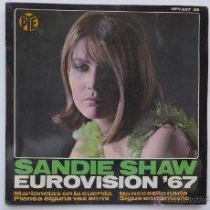 Discos de vinilo: EUROVISION. SANDIE SHAW. MARIONETAS EN LA CUERDA (PUPPET ON A STRING). HISPAVOX 1967. Lote 49357203