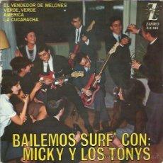 Discos de vinilo: MICKY Y LOS TONYS EP ZAFIRO 1964 EL VENDEDOR DE MELONES/ VERDE VERDE/ LA CUCARACHA +1 BEAT MOD. Lote 49408324