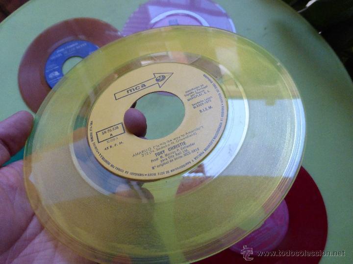 Discos de vinilo: LOTE DE 6 SINGLES DE DIFERENTES COLORES-DISCO SINGLE DE COLOR-VINTAGE-INTERESANTE PARA DECORACIÓN - Foto 4 - 49420956