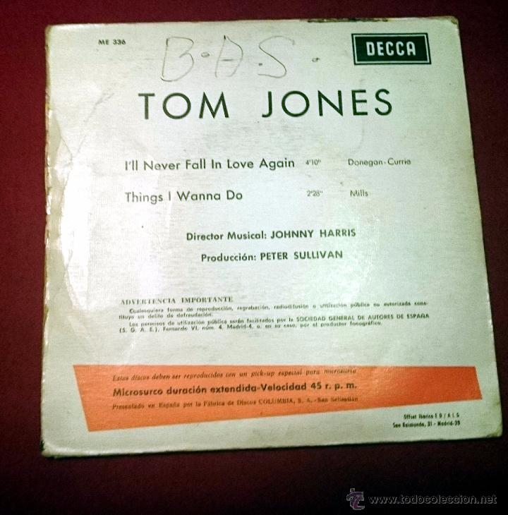 Discos de vinilo: TOM JONES - I LL NEVER FALL IN LOVE AGAIN - DECCA 1967 - Foto 2 - 49421327