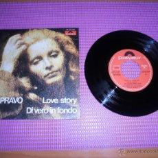 Discos de vinilo: PATTY PRAVO-LOVE STORY + DI VERO IN FONDO S.G. EDITADO POR POLYDOR EN 1971 RARE SPAIN. Lote 49422557